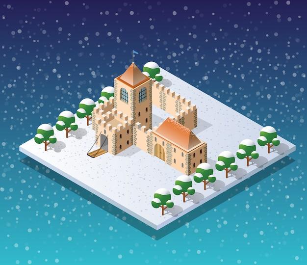 Winter christmass city Vettore Premium