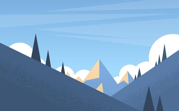 Winter mountain forest landscape background Vettore Premium