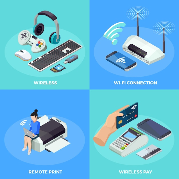 Wireless technology 4 isometric icons square Vettore gratuito
