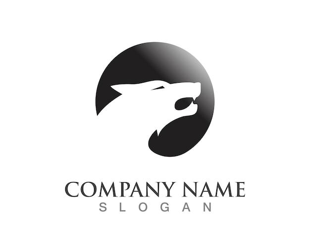 Wolf logo template Vettore Premium