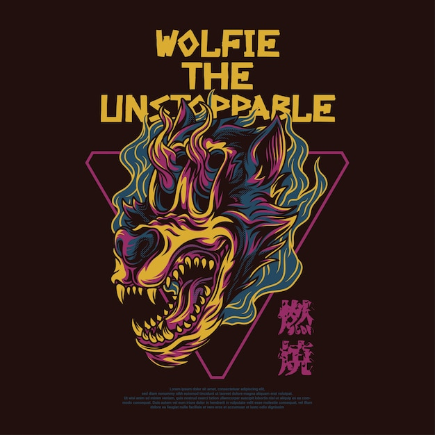 Wolfie the unstoppable illustration Vettore Premium