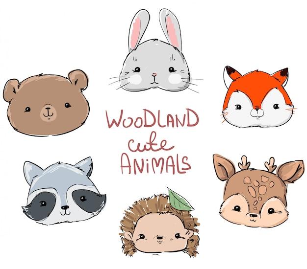 Woodland set animals, coniglio carino disegnato a mano, volpe, orso, procione, riccio e cervo. Vettore Premium