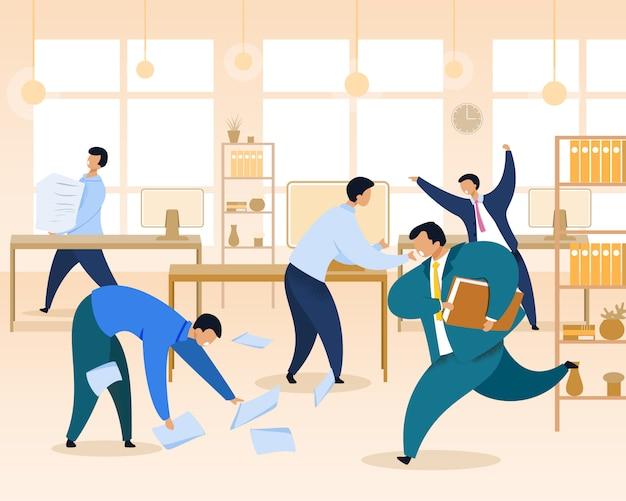 Work rush, office chaos, illustrazione piatta Vettore Premium