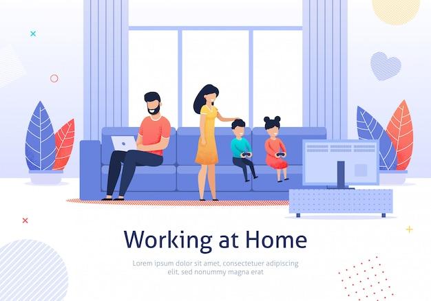 Working at home padre con banner membri della famiglia. Vettore Premium