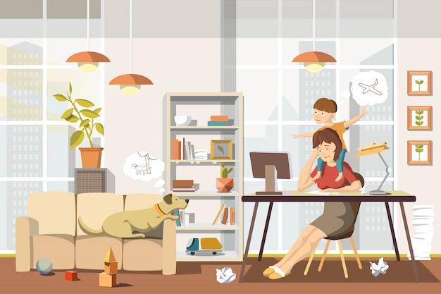 Working mother concept mamma impegnata con bambino e cane Vettore Premium