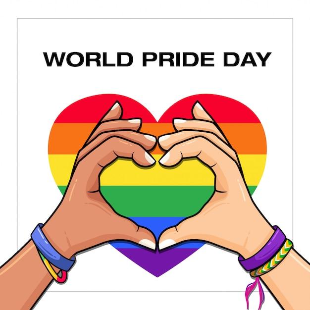 World pride day lgbt con bandiera gay Vettore Premium