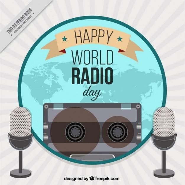 World radio giorno sfondo con i microfoni Vettore Premium