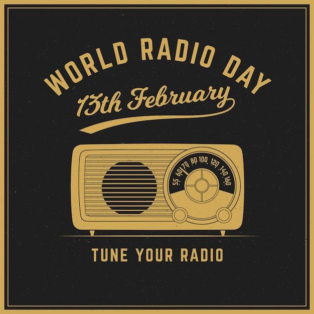World radio giorno sfondo d'epoca Vettore gratuito