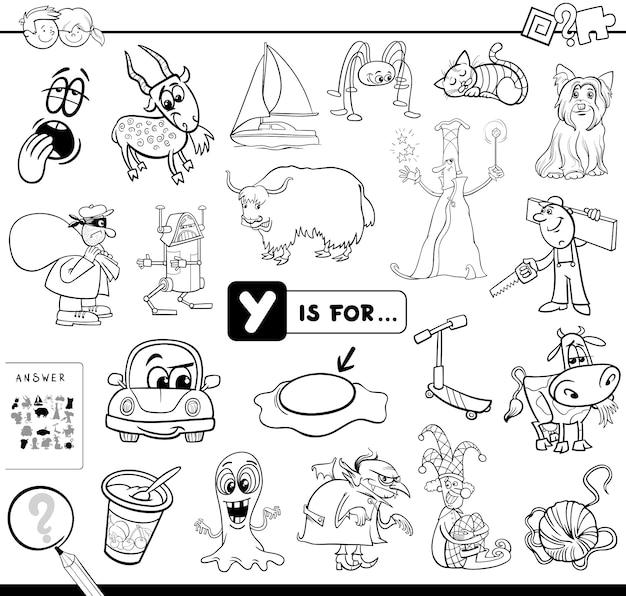 Y è un libro da colorare educativo Vettore Premium