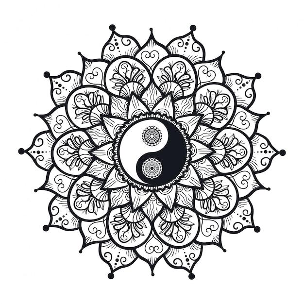 Yin e yang vintage in mandala Vettore Premium
