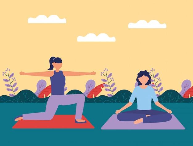 Yoga all'aperto in stile piatto Vettore gratuito