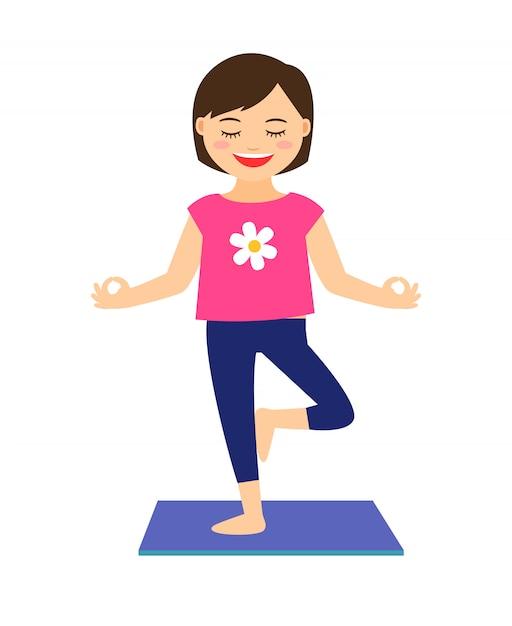 Yoga bambini illustrazione vettoriale. ragazza nella posa di yoga isolata Vettore Premium