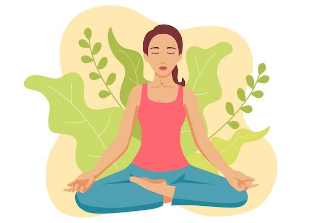 Yoga della donna Vettore Premium