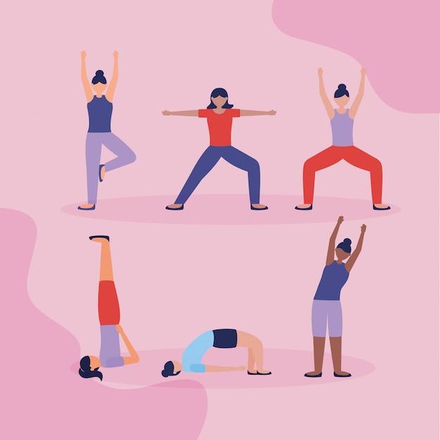 Yoga della gente all'aperto in stile piatto Vettore gratuito