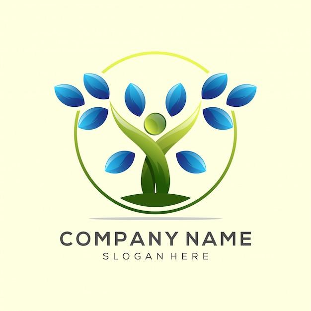 Yoga foglia logo premium vettoriale Vettore Premium