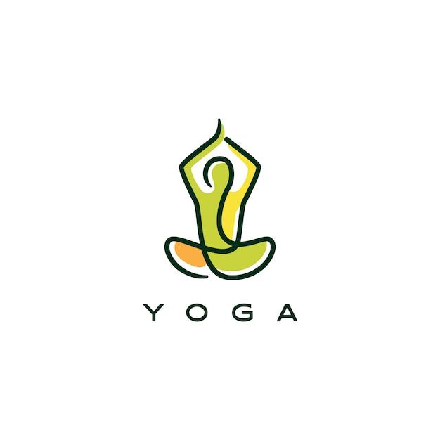 Yoga logo icona linea muta stile monoline Vettore Premium
