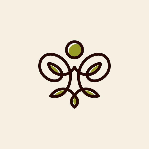 Yoga logo vettoriale Vettore Premium