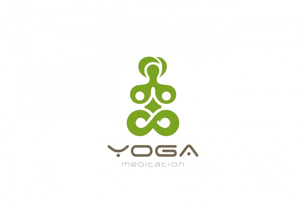 Yoga meditazione logo vettoriale icona vintage. Vettore gratuito