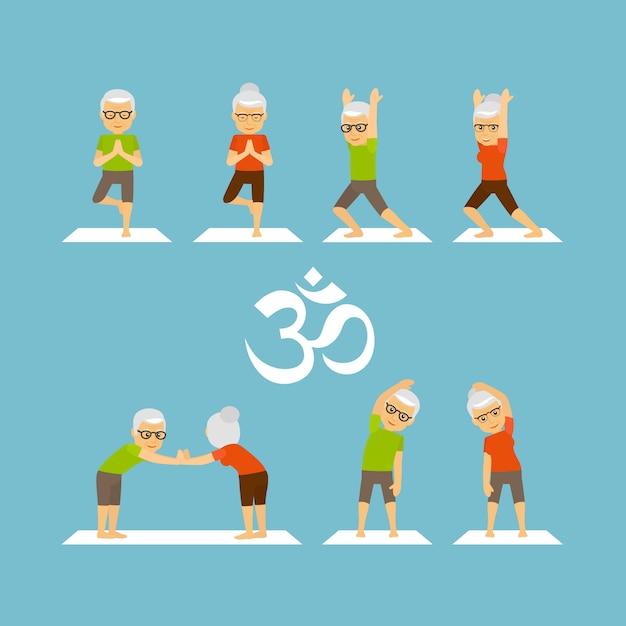 Yoga oldies Vettore Premium