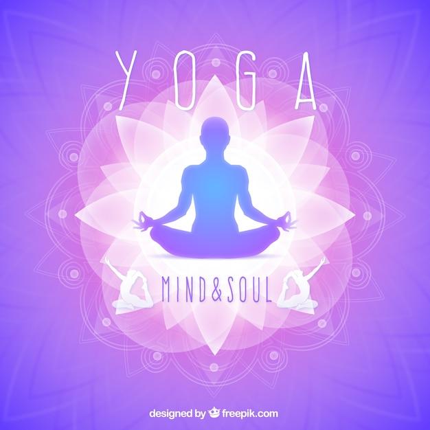 Yoga silhouette viola Vettore gratuito