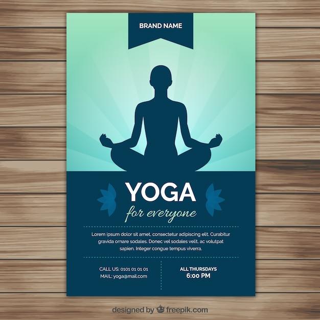 Yoga silhouette volantino Vettore gratuito