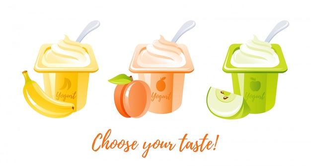 Yogurt alla frutta con banana, pesca, mela. Vettore Premium