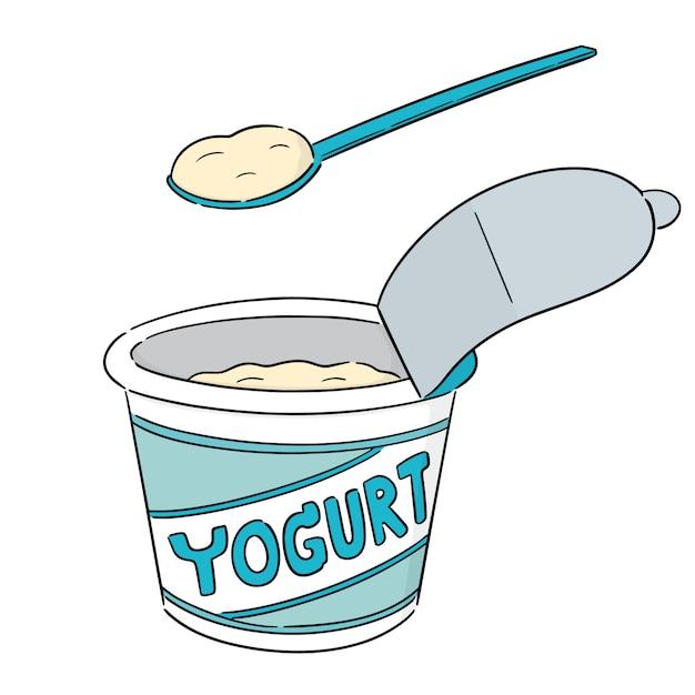 Yogurt cartoon Vettore Premium