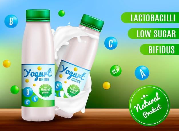 Yogurt realistico. panna acida e prodotti di yogurt. etichetta d'imballaggio 3d spruzzata del latte Vettore Premium