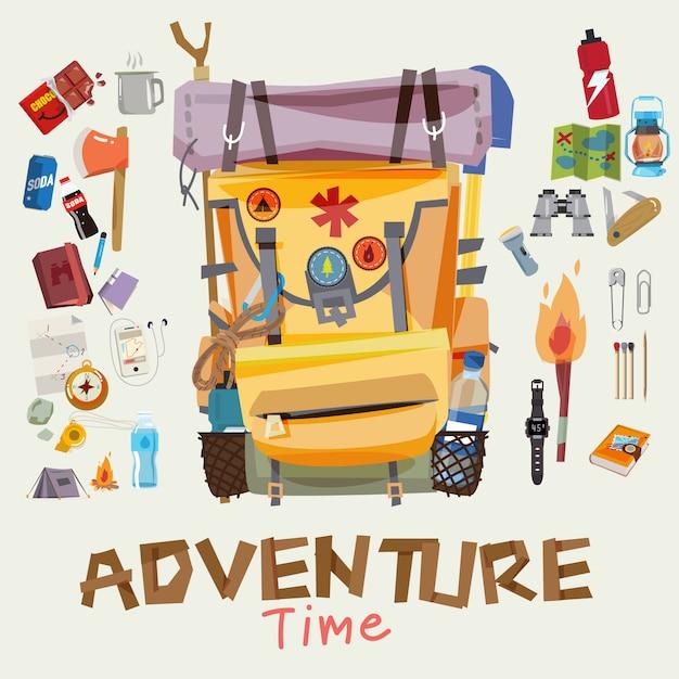Zaino da avventura con oggetti del viaggiatore in cornice rotonda. tempo di avventura Vettore Premium