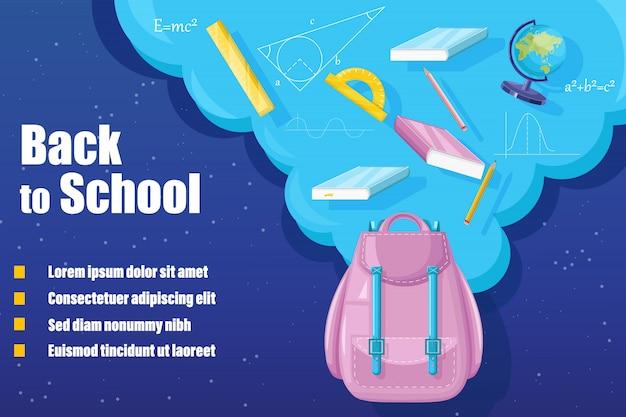 Zaino torna a scuola. la promozione della vendita pubblicizza banner in stile piatto Vettore Premium