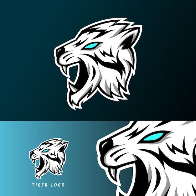 Zanne lunghe del modello di logo esportatore di sport di gioco della mascotte della tigre arrabbiata Vettore Premium