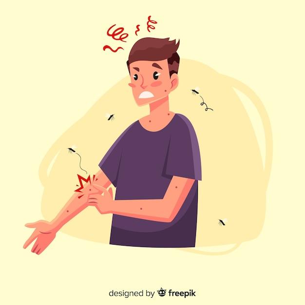 Zanzara che morde una persona con un design piatto Vettore gratuito