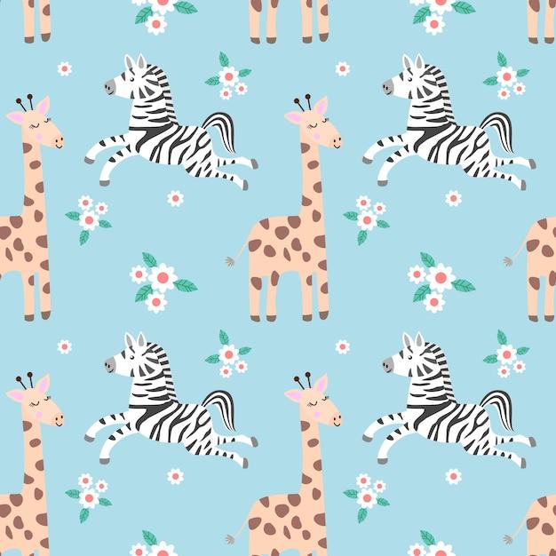 Zebra e scimmia di geraffe nel modello senza cuciture della foresta. Vettore Premium