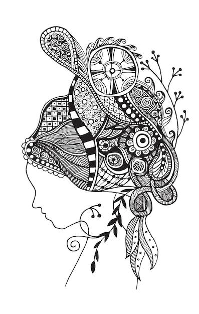 Zentangle Ha Stilizzato Il Viso Di Una Bella Donna Scaricare