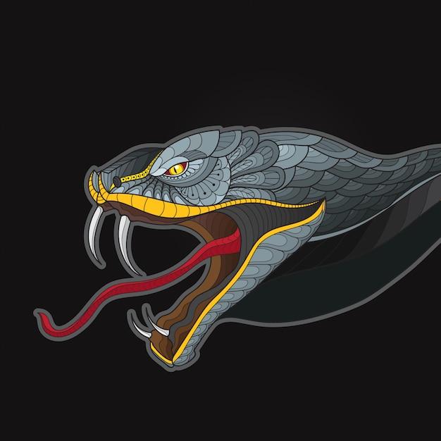 Zentangle stilizzato serpente testa cobra re Vettore Premium