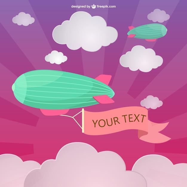 Zeppelin banner vector Vettore gratuito