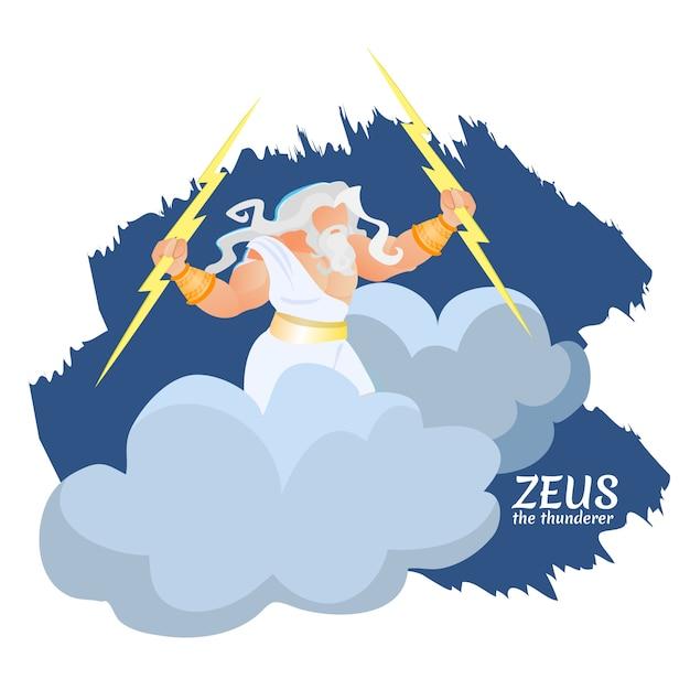 Zeus dio greco del tuono e fulmini su nuvola Vettore Premium
