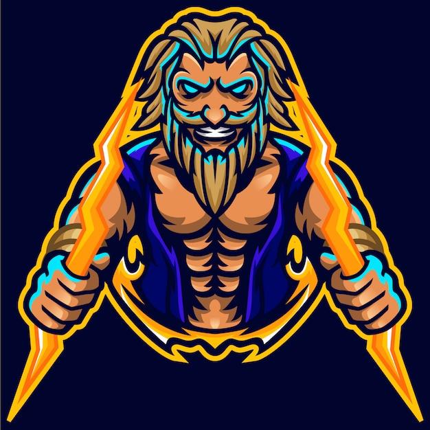 Zeus thunderbolt god mascot muscle logo template Vettore Premium