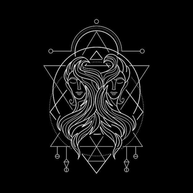 Zodiac gemini geometri style Vettore Premium