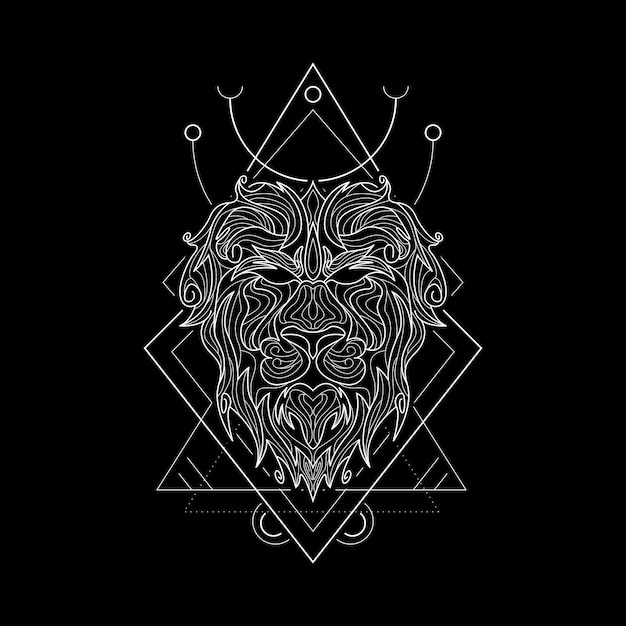 Zodiac leo geometri style Vettore Premium