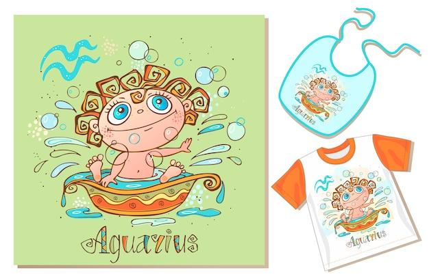 Zodiaco dei bambini. segno acquario esempi di applicazione su t-shirt e pettorina. Vettore Premium