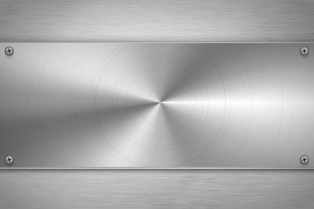 Zolla in bianco lucidata del metallo su stagnola metallica grigia luminosa, fondo industriale Vettore Premium