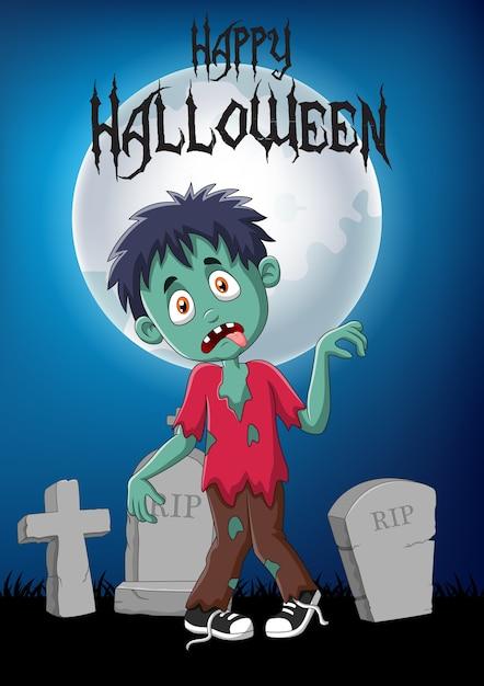 Zombie di cartone animato con sfondo di halloween scaricare