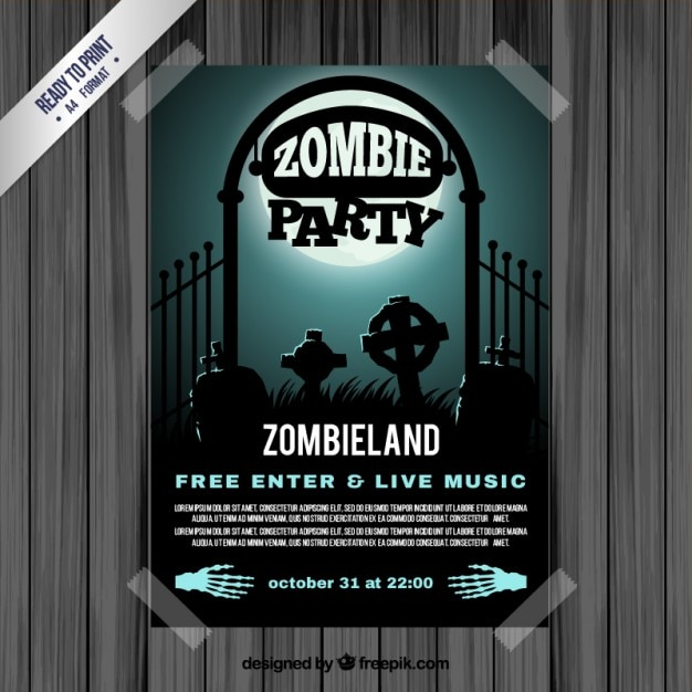 Zombie party flyer Vettore gratuito