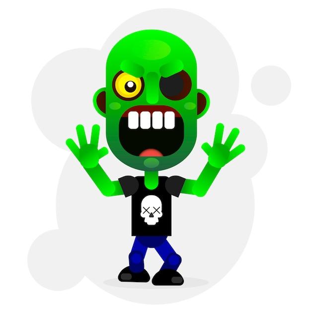 Zombie verde divertente del fumetto di vettore Vettore Premium