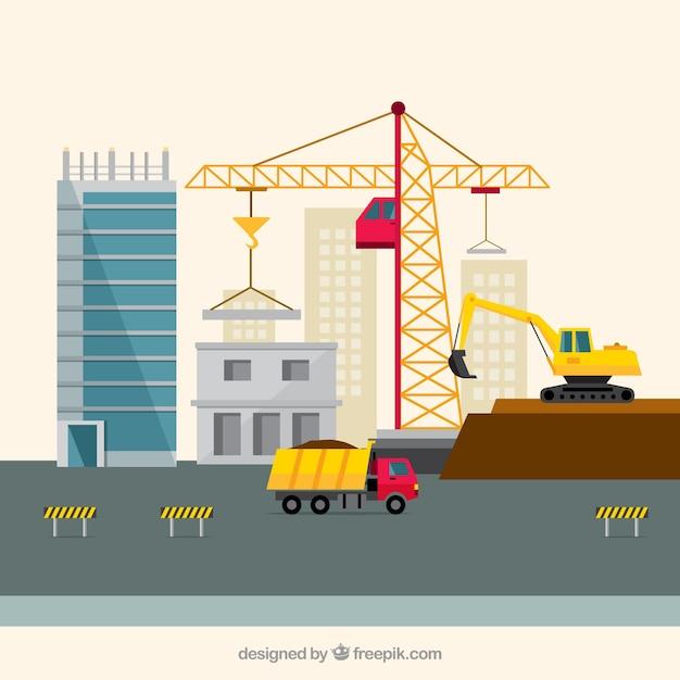 Zona di costruzione in desing piatta scaricare vettori for Software di costruzione gratuito