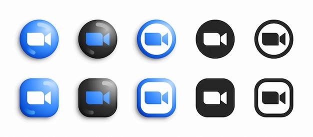 Zoom 3d moderno e set di icone piatte Vettore Premium