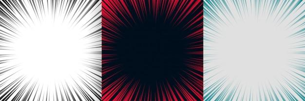 Zoom linee di messa a fuoco set di sfondo di tre Vettore gratuito