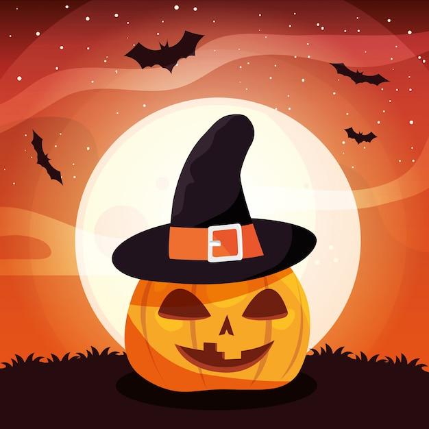 Zucca con cappello di streghe in scena di halloween Vettore Premium