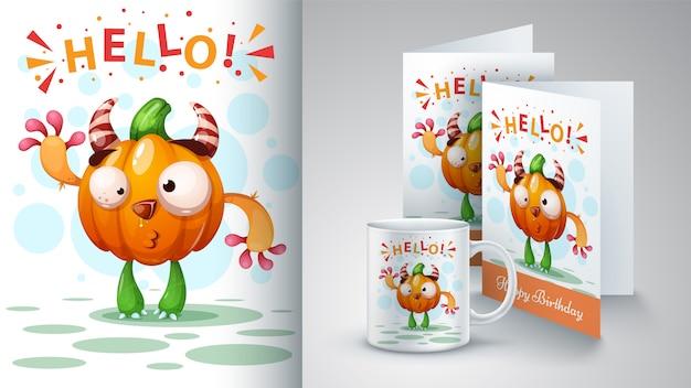 Zucca di cartone animato Vettore Premium